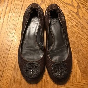 TORY BURCH REVA FLATS shoes Brown leather 7.5